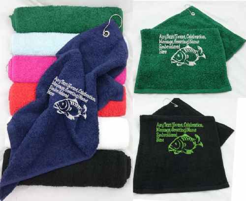 Full Carp design Fishing Towel with Personalised Text/Message